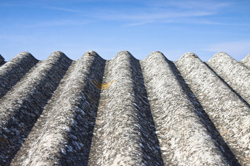 Detail of dangerous asbestos roof