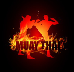 Thai boxing is high kicking to head with muay thai fire vector