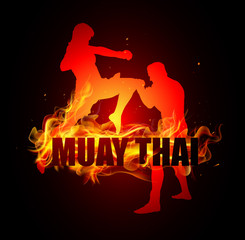Thai boxing is kicking with knee postures muay thai fire vector