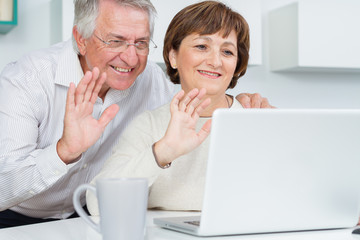 Seniors couple using a computer chatting via webcam and waving h