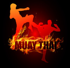Thai boxing is jumping with knee postures muay thai fire vector