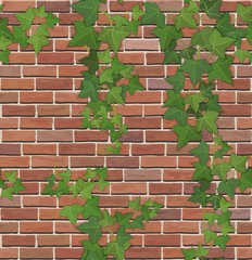 Brick and ivy texture vector
