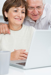 Seniors couple using a laptop computer with a loving