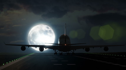 Plane lands on airport runway in front of large full moon