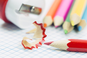 close up of pencil shavings and sharpener