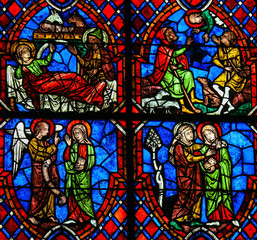 The Visitation Stained Glass in Cathedral of Tours, France