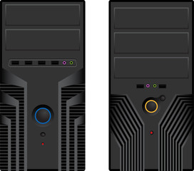 Vector pack of two computer cases