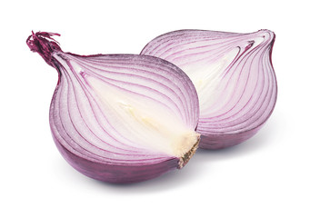 Purple onion half isolated on white background