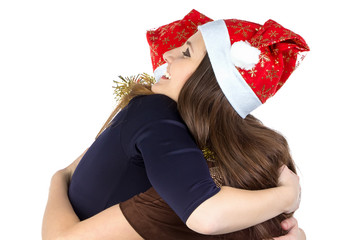 Image of two hugging young women