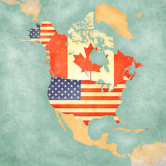 Map of North America - USA and Canada (Vintage Series) © Tindo