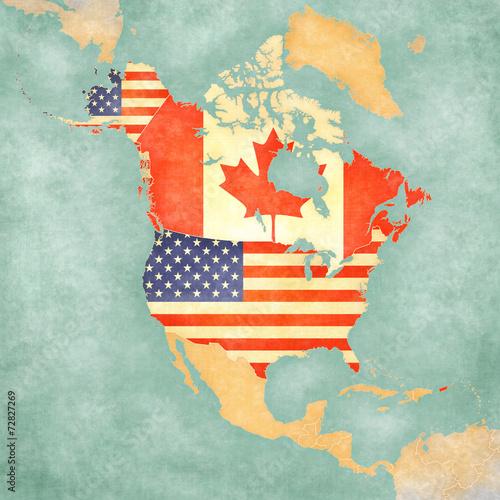 mapa-ameryki-polnocnej-usa-i-kanady-vintage-series