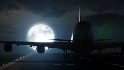 Plane departs from airport runway in front of large full moon