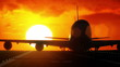 Plane departs from runway as silhouette in front of large sunset