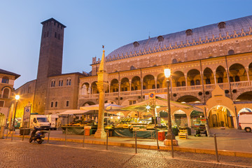 Padua - Piazza della Fruta in morning dusk with the market