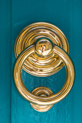 Gold and blue in door