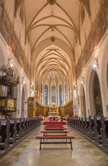Trnava - The nave of the gothic St. Nicholas church.