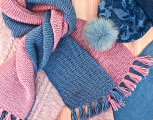 Warm knitted women's clothes and accessories