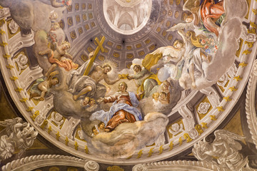 Trnava - baroque fresco of Coronation of Virgin Mary