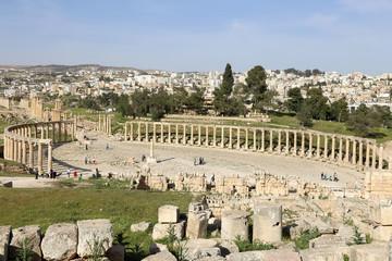 Forum (Oval Plaza)  in Gerasa (Jerash), Jordan.