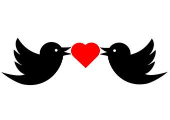 Vogelpaar mit Herz
