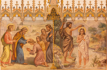 Fresco - Baptism of Christ and Apostles at confirmation