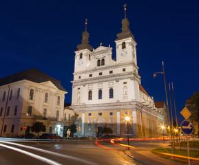 Trnava - The Saint John the Baptist cathedral at dusk.
