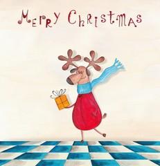 Christmas card. Reindeer Rudolph