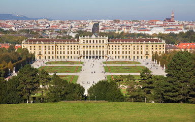 Vienna - The Schonbrunn palace and gardens from Goloriette.