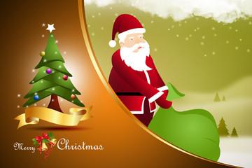 Santaclause with xmas tree