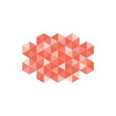 An abstract pixel art style shape isolated over white