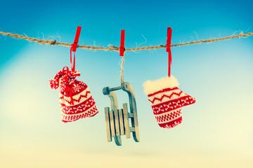Christmas decoration over blue background
