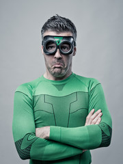 Disappointed funny superhero