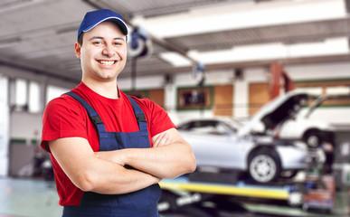 Smiling mechanic at work