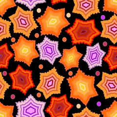 Seamless dark background with gritty orange and purple stars
