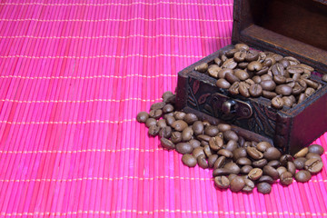 Chest with coffee beans