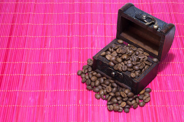 Opened chest with coffee
