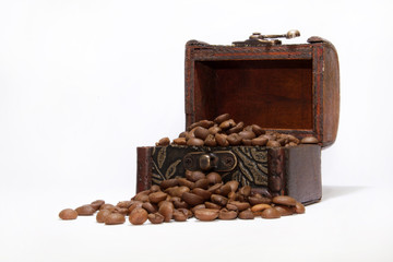 Wooden chest with coffee beans