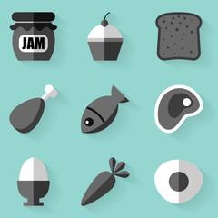 Flat icon set. Food. White style