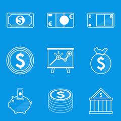 Blueprint icon set. Money