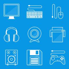 Blueprint icon set. Computer