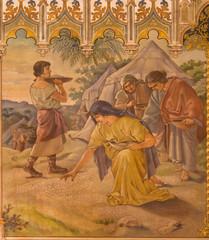 neo-gothic fresco Trnava - Israelites at gathering of manna