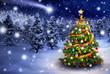 Leinwanddruck Bild - Weihnachtsbaum in verschneiter Nacht