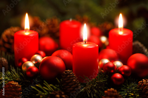 canvas print picture Adventkranz mit drei Flammen