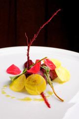 Fine dining appetizer with beetroot