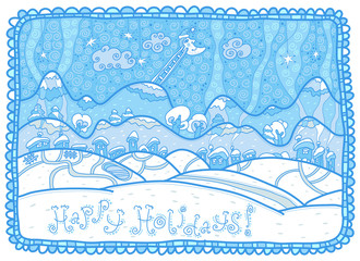 Happy Holidays! Blue winter landscape