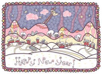 Happy New Year! Colorful winter landscape