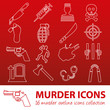 ������, ������: murder outline icons