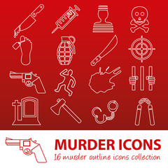 murder outline icons