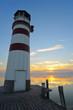 canvas print picture - Leuchtturm an der Mole von Podersdorf am Neusiedlersee