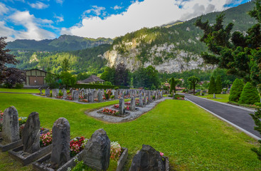 A cemetery in Lauterbrunnen village, Switzerland